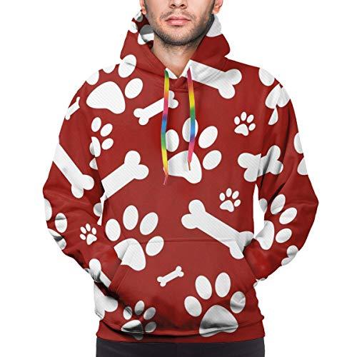 Moshow Herren Hoodie Rot und Weiß Dog Paw Sweatshirt S.