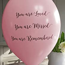 ANGEL & DOVE 25 Pale Pink 'You are Loved, Missed, Remembered' Biodegradable Funeral Remembrance Balloons - for Memory Table, Memorial, Condolence, Anniversary
