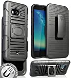 Case with Clip for HTC U11, Nakedcellphone Black Ring Grip Cover + Belt Hip Holster Stand [with Built-in Mounting Plate] for HTC U11