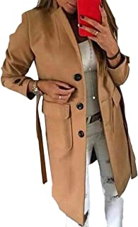 Womens Single Breasted Wool Blend Overcoat Fashion Slim Fit Coat