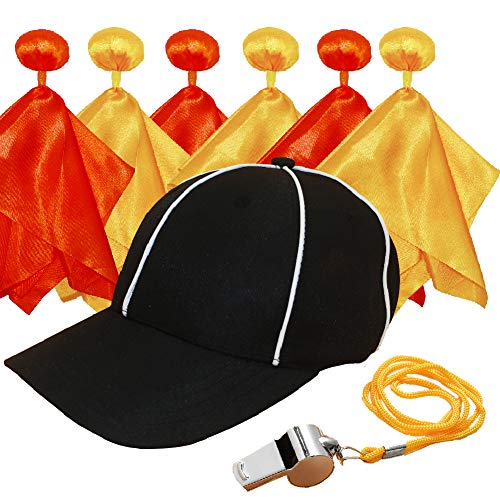 6 Pieces Football Penalty Flag,Penalty Flag (3 Red Challenge Flags and 3 Yellow Penalty Flags), Referee Hat (Adjustable Black with White Stripes) and Stainless Steel Whistle with Lanyard.