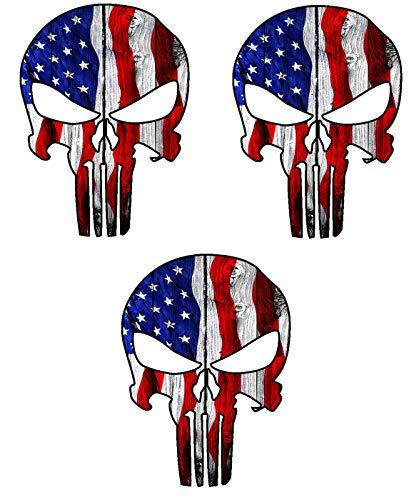 Three (3) Best Seller USA Punisher Skull   Hard Hat Stickers - USA Union