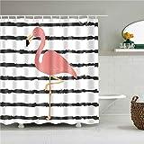 FHKGCD Schwarze Streifen Flamingo-Duschbilder Im Badezimmer Polyester-wasserdichte Duschvorhänge 120Cm * 180Cm