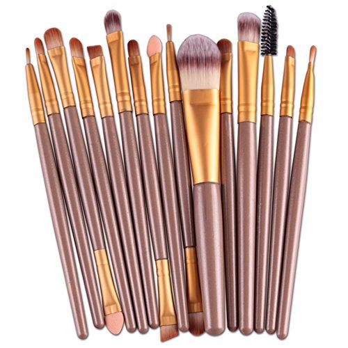 15 pcs Pro Lot de brosse de maquillage cosmétique Poudre Fond de Teint Fard à paupières Pinceau à lèvres