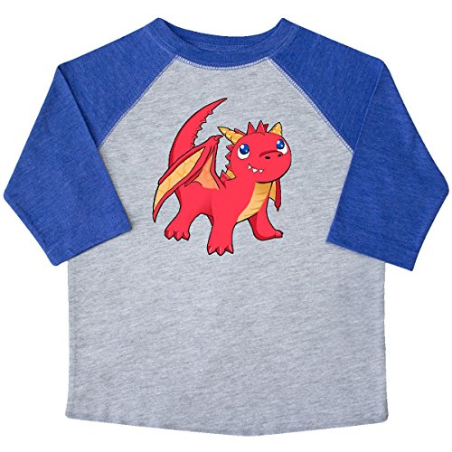 inktastic Cute Baby Red Dragon Toddler T-Shirt 4T Heather and Royal