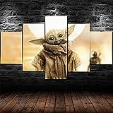 Impression sur Toile 5 Parties Tableau Tableaux Star Wars Baby Yoda Decoration Murale Photo Image Artistique Photographie Graphique Abstrait HD Imprimé Maison Décor À La Cadre