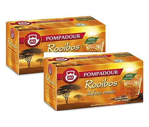 Pompadour 1913 Rooibos (Infuso Rosso) Aromatico e Distensivo Naturalmente Senza Teina - 2 x 20 Bustine di Tè (70 Grammi)