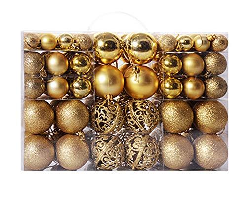 Awinker 100 Pezzi Palline Di Natale Multi-Color Dimensione Diverse Palle E Palline Per L'Albero Decorazioni Natalizie (Oro)