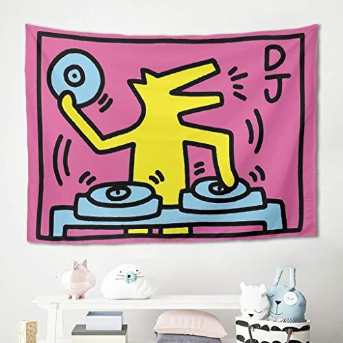 none_branded Wandteppich DJ Playing Gedruckt Wandbehang Musik Picknickdecken für Fenstervorhang White 150x150cm