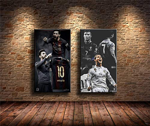 fdgdfgd Lionel Messi, Cristiano Ronaldo Pintura Impresión en Lienzo HD Pintura Abstracta en Lienzo Oficina Arte de la Pared Decoración para el hogar Imagen de la Pared 40X70 CM