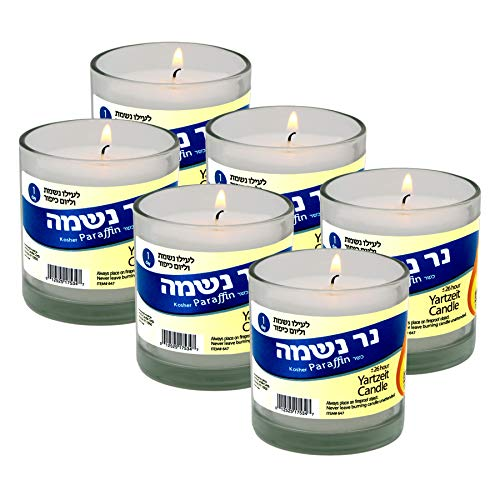 Yahrzeit Memorial Candle 24 Hours Burning Time in Glass Holder- 6 Pack - to Light in Memory of Lost Loved Ones Funeral Shiva yartzeit or Emergency Candles- Nice Glass Tumbler Cups- Light 1 Day