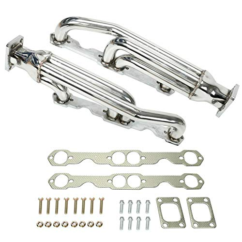 BLACKHORSE-RACING T3 Twin Turbo Exhaust Header Manifold System Kit for Chevy Camaro Small Block 283 350 305 400 T3 Firebird V8 SBC Manifolds