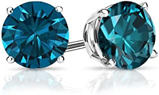 Blue - Round Brilliant Cut Diamond Earring Studs in 14K Gold (1/10ct to 1ct)