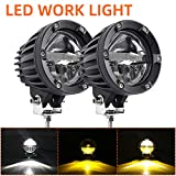 Pair Round Amber Yellow White LED Work Lights Motorcycle LED Spot Driving Fog Lights for Off Road 4x4 Truck Motorcycle Car SUV ATV Pickup Truck Boat Tractor Forklift 1000Z-2pcs
