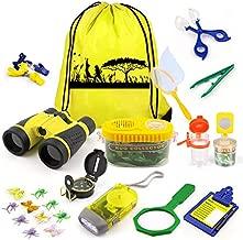 KAQINU Kids Explorer Kit, 24 PCS Outdoor Adventure Camping Kit & Bug Catcher Kit with Drawstring Bag, Binoculars, Compass, Butterfly Net, Educational Nature Exploration Toys Gift for Boys & Girls