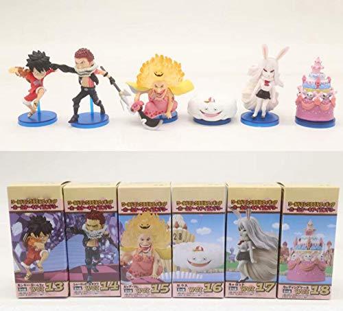 Romantic-Z 6pcs / Set Anime One Piece WCF Toute L'île De Luffy Sanji Katakuri Charlotte Linlin Big Mom Clollectible Figurines Jouets