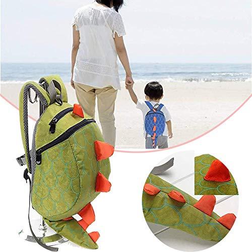 mochila del dinosaurio de los niños pequeños, mochila para niños pequeños, Bolsas de dinosaurio de paquete anti-perdida, mochila skip hop con correa de seguridad green