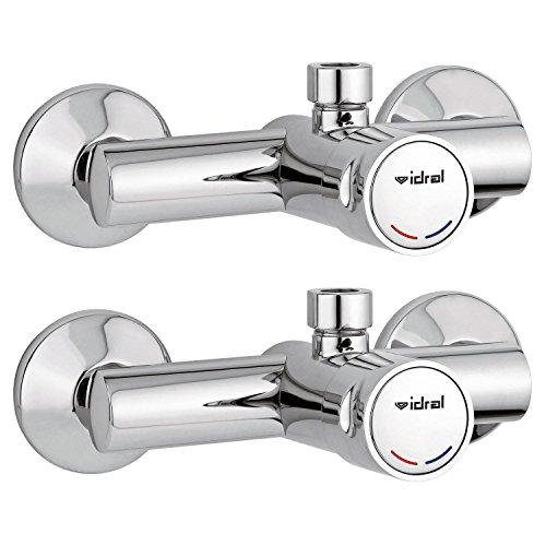 2x Duscharmatur Zeitgesteuert Selbstschluss für Kalt-/Warmwasser / Gewerbearmatur