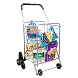 Deluxe Stair Climber Utility Cart – Supenice (SN7510) Easily Collapsible Shopping Cart with Tri-Wheels, 66 LBS Capacity, Extended Foam Cover, Light Weight Trolley Great for Shopping, Camping