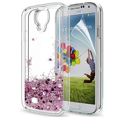 LeYi Hülle Samsung Galaxy S4 Glitzer Handyhülle mit HD Folie Schutzfolie,Cover TPU Bumper Silikon Flüssigkeit Treibsand Clear Schutzhülle für Case Samsung Galaxy S4 Handy Hüllen ZX Rot Rosegold