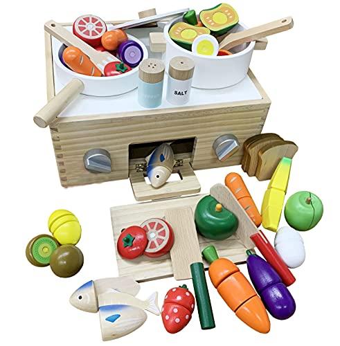 アレックス・サンガサクッと切れるままごと木製磁石食品衛生検査適合キッチンコンロ魚焼きグリル遊んでしまえるお片付け(クッキングボックスAGセットCBAG)