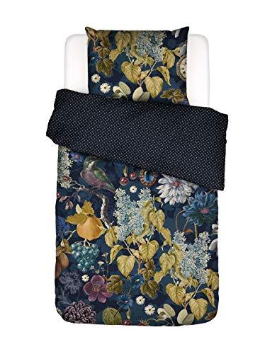 ESSENZA Bettwäsche Veronique Blumen Baumwollsatin Indigo Blue, 135X200 + 1X 80X80 cm