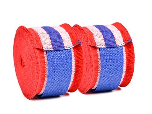 AYE Vendas de Semi-Elásticos de Boxeo para Kickboxing Taekwondo de Muay Thai con Cierre de Gancho y Lazo, 4.5 Metros Rojo, Blanco y Azul (par)