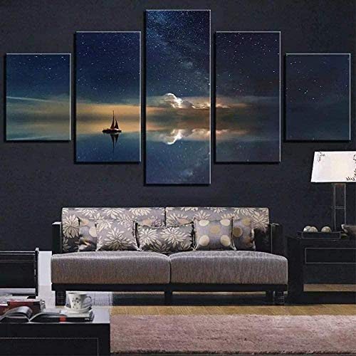 NC99 5 Pinturas consecutivas 5 Piezas Galaxy Canvas Painting Space Stars Fondos de Pantalla Ship Boat Posters Sky Landscape Pictures para la decoración de la habitación del hogar Universe Art