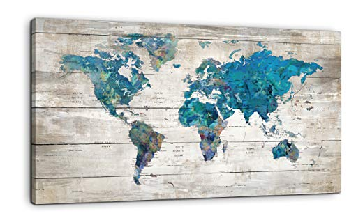 Abstract Watercolor Blue World Map Canvas Wall Art Prints for Living Room Office Large Teal White Watercolor World Map Picture Framed Artwork Decor for Home Bedroom Decoration