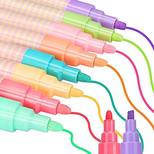 Pennarelli Gesso Liquido, Sinwind Pennarelli Gesso Liquido Cancellabili, per Lavagna e Vetro Punta Reversibile 6mm Pennarelli Vetro Cancellabili, Cancellabili Con un Panno Umido o Secco