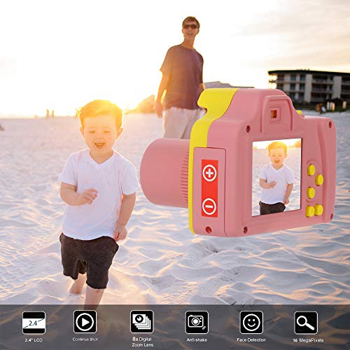 Digital Camera Point and Shoot, 2.4HD Screen Portable Camcorder with16MP Anti-Shake Face Detection, Recording HD 1280P Resolution Videos,Best Gift for Kids (Pink/Blue) (Pink and Yellow)