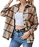 NDCATHE Camisa a cuadros para mujer, abrigo de guisante, suelta, gruesa, abrigos casuales