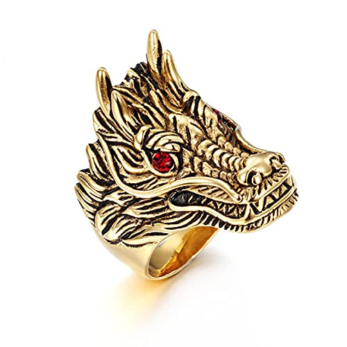 Dragon Head Ring for Men, Gothic Gold Dragon Ring Stainless Steel Dragon Red Stone Ring for Boys (8)