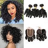 BLISSHAIR Brazilian Hair Funmi Curly capelli spirale Human Hair 3 Bundles and Closure Corta Loose Curly Weave Virgin Veri Capelli Umani Brasiliani estensioni 101010+8