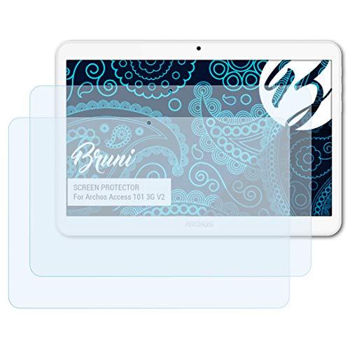 Bruni Schutzfolie kompatibel mit Archos Access 101 3G V2 Folie, glasklare Bildschirmschutzfolie (2X)