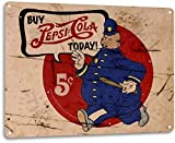 DKISEE Aluminum Safety Sign Pepsi Cola Man 5 Cent Pop Cola Soda Advertising Durable Rust Proof Warning Sign Aluminum Metal Sign 8'x12'