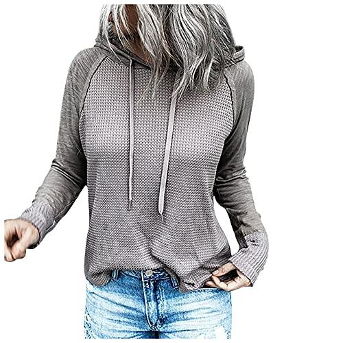Sudadera de manga larga con capucha de color sólido con capucha y cordón para mujer, Gris01, 3XL