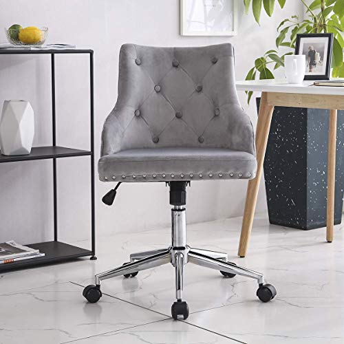 YANGSANJIN Office Chair,Velvet Office Chair Ergonomic 360° Swivel Computer Chair with Padded Cushion Seat Adjustable Height (Grey)