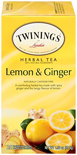 Twinings of London Lemon & Ginger Herbal Tea Bags, 25 Count (Pack of 6)