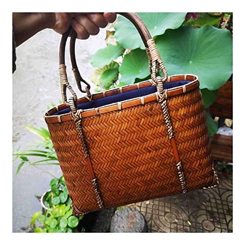 GOUDAN Bolso Tejido de bambú,cestas de Almacenamiento de bambú Hechas a Mano,Almacenamiento de cosméticos y Juegos de té,for Fiesta,Compras,Camping,Citas o Justo como una Bolsa de día.