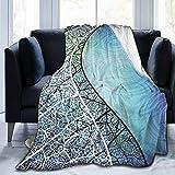 Jimbseo Manta de forro polar de franela azul y fondo de curva de Graphicriver Super suave y acogedora manta de cama mantas de 40 x 50 pulgadas Model587#
