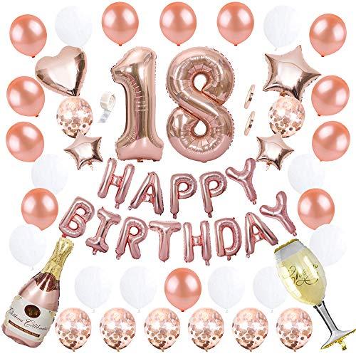 Ceqiny 18 Geburtstag Dekoration Happy Birthday Banner Luftballons Alles Gute zum Geburtstag Ballon Set Konfetti Helium Latex Stern Herz Weinflasche Folieballon Perfekte für Mädchen Frauen, Roségold