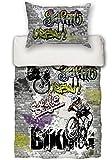 beties Graffiti-Move Jugend Wende Bettwäsche-Set ca.135x200/80x80 cm Biking-Druck feinste Baumwolle Graphit grau