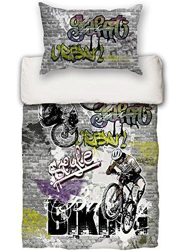 beties Graffiti-Move Jugend Wende Bettwäsche-Set ca.135x200 cm + 80x80 cm Biking Cool feinste Baumwolle Graphit grau