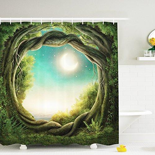 NALEDI Vert forêt Lune Impression numérique Rideau de Douche en Polyester imperméable à la moisissure de Bain Creative Rideau de Salle de Bain Décor 180,3 x 180,3 cm