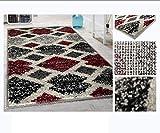 Alfombra de Salón Frise Pelo Largo Tupido Rectangulos Geometricos Modernos Color (Granate, 135_x_190_cm)