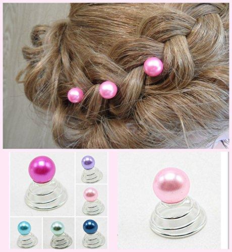 Bijoux cheveux – Curlie – Grande Perle multicolores rose