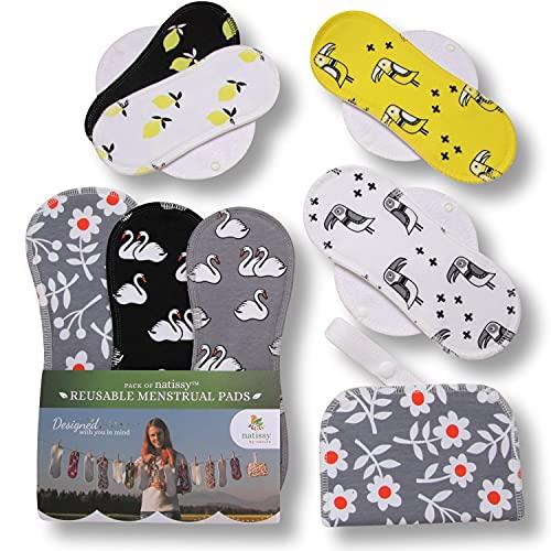 Serviettes hygiéniques lavables, lot de 7 en coton, pads menstruelles FABRIQUÉES EN UE; culotte de regle lavable pour les périodes menstruelles, l'incontinence, le post partum; serviette periodique