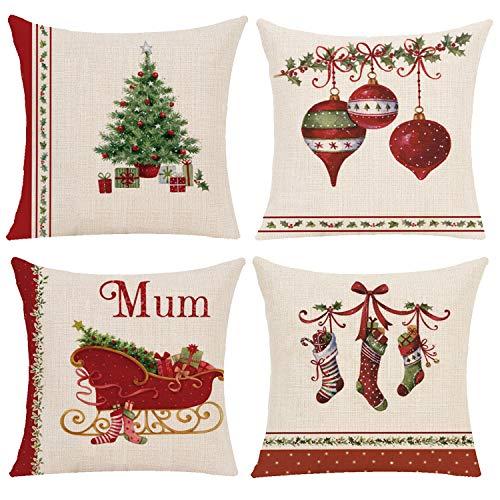 Gudotra 4 fundas de cojín para sofá de Navidad (calcetines de Navidad).