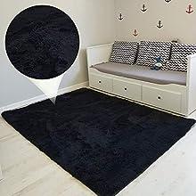 Alfombras Salon Grandes 160 x 230 cm - Pelo Largo Alfombra Habitación Dormitorio Lavables Comedor Moderna Vivero Blanco-Amarillento